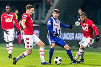 ALKMAAR - 25-01-2017, AZ - sc Heerenveen, AFAS Stadion, AZ speler Ben Rienstra, SC Heerenveen speler Arber Zeneli , AZ speler Dabney dos Santos Souza