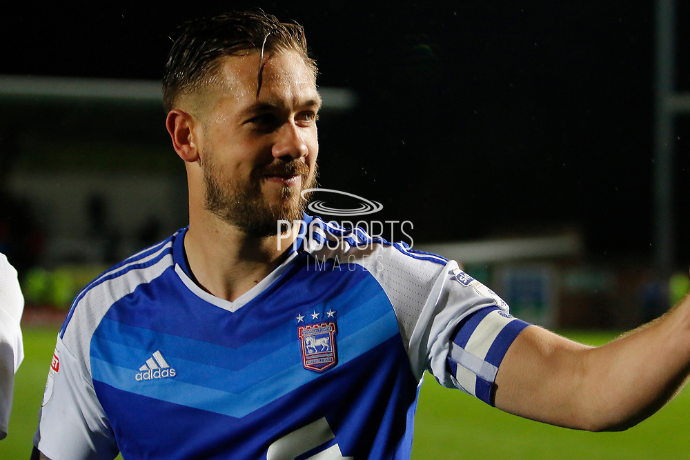 Goalscorer Ipswich Town defender Luke Chambers (4) celebrates during the EFL Sky Bet Championship match between Burton Albion and Ipswich Town at the Pirelli Stadium, Burton upon Trent, England on 14 April 2017. Photo by Richard Holmes.
