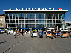 Exterior of Hauptbahnhof or Main railway station in Cologne Germany