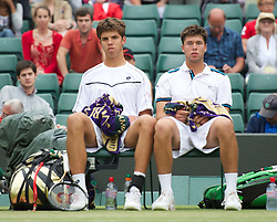 LONDON, ENGLAND - Sunday, July 3, 2011: Mate Oliver Golding (GBR) (R) and Jiri Vesely (CZE) look dejected after losing the Boys' Doubles Final match on day thirteen of the Wimbledon Lawn Tennis Championships at the All England Lawn Tennis and Croquet Club. (Pic by David Rawcliffe/Propaganda)
