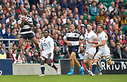 Barbarians wing Ugo Monye (Harlequins & England) collects a high kick under pressure from the onrushing England players during the International Rugby Union match England XV -V- Barbarians at Twickenham Stadium, London, Greater London, England on May  31  2015. (Steve Flynn/Image of Sport)