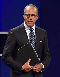 NBC Nightly News anchor Lester Holt addresses the audience prior to former United States Secretary of State Hillary Clinton, the Democratic Party nominee for President of the US and businessman Donald J. Trump, the Republican Party nominee for President of the US, appearing in the first of three presidential general election debates at Hofstra University in Hempstead, New York, USA, on Monday, September 26, 2016. Photo by Ron Sachs/CNP/ABACAPRESS.COM