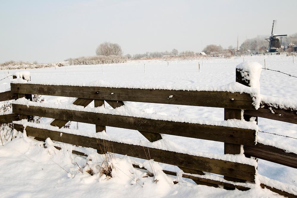 Winters landschap in de Waarderpolder bij Haarlem