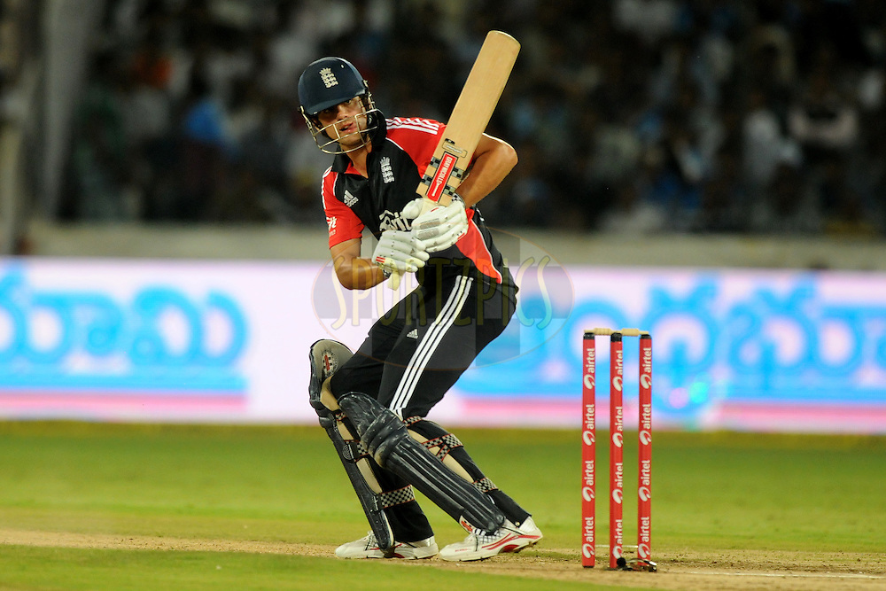 Alastair Cook of England bats during the first One Day International ( ODI ) match between India and England held at the Rajiv Gandhi International Stadium, Hyderabad on the 14th October 2011..Photo by Pal Pillai/BCCI/SPORTZPICS