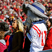 Colonel Reb, former Mississippi mascot, is seen during an NCAA college football game between Arkansas and Mississippi in Little Rock, Ark., Saturday, Oct. 27, 2012. (Photo/Thomas Graning)