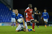 Portsmouth Forward, Curtis Main (14) is fouled by Crawley Town Midfielder, Kaby Djalo (17) during the EFL Trophy match between Portsmouth and Crawley Town at Fratton Park, Portsmouth, England on 3 October 2017. Photo by Adam Rivers.