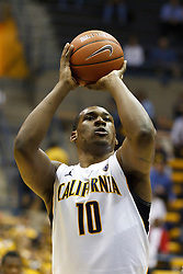 November 16, 2010; Berkeley, CA, USA;  California Golden Bears center Markhuri Sanders-Frison (10) shoots a free throw against the Cal State Northridge Matadors during the second half at Haas Pavilion.  California defeated Cal State Northridge 80-63.