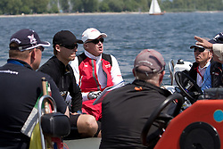 Peter Gilmour argues his case to the jury during a protest after he lost a quarter final match against Torvar Mirsky on day 4 of Match Race Germany 2010. World Match Racing Tour. Langenargen, Germany. 23 May 2010. Photo: Gareth Cooke/Subzero Images/WMRT