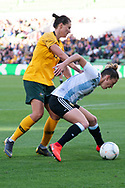 MELBOURNE, VIC - MARCH 06: Emily Gielnik (15) of Australia competes for the ball during The Cup of Nations womens soccer match between Australia and Argentina on March 06, 2019 at AAMI Park, VIC. (Photo by Speed Media/Icon Sportswire)