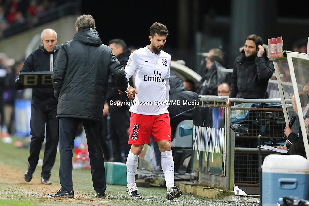 Sortie THIAGO MOTTA / Laurent BLANC - 14.12.2014 - Guingamp / Paris Saint Germain - 18eme journee de Ligue 1<br />Photo : Vincent Michel / Icon Sport