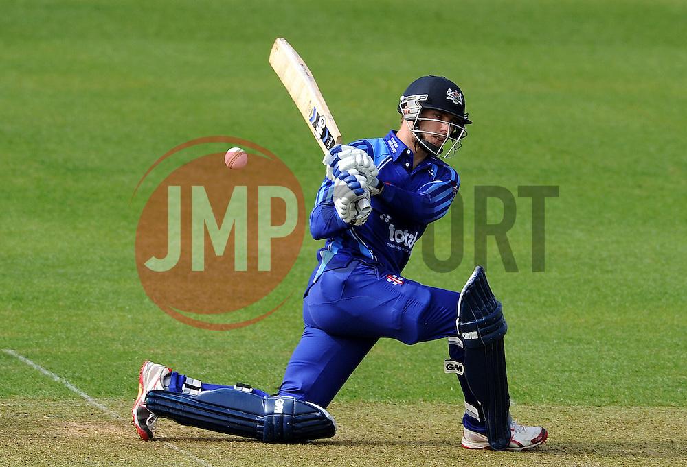 Gloucestershire's Chris Dent sweeps the ball - Photo mandatory by-line: Harry Trump/JMP - Mobile: 07966 386802 - 30/03/15 - SPORT - CRICKET - Pre Season Fixture - T20 - Somerset v Gloucestershire - The County Ground, Somerset, England.