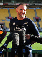 Rugby Union - 2019 Rugby Championship - New Zealand vs. South Africa, pre-match captain's runs & photocalls<br /> <br /> NZ Captain Kieran Reid talks to the Media, at Westpac Stadium, Wellington.<br /> <br /> COLORSPORT/ANDREW COWIE