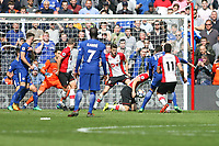 Football - 2017 / 2018 Premier League - Southampton vs. Chelsea<br /> <br /> Olivier Giroud of Chelsea scores Chelseas third goal at St Mary's Stadium Southampton<br /> <br /> COLORSPORT/SHAUN BOGGUST