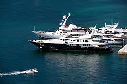 Yachts moored in harbour at Kerkyra on Corfu Island in Greece
