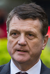 London, UK. 16th November, 2018. Gerard Batten, Leader of UKIP, appears on College Green in Westminster as uncertainty continues around the survival of Prime Minister Theresa May's Government and the number of letters of no confidence submitted to the 1922 Committee.