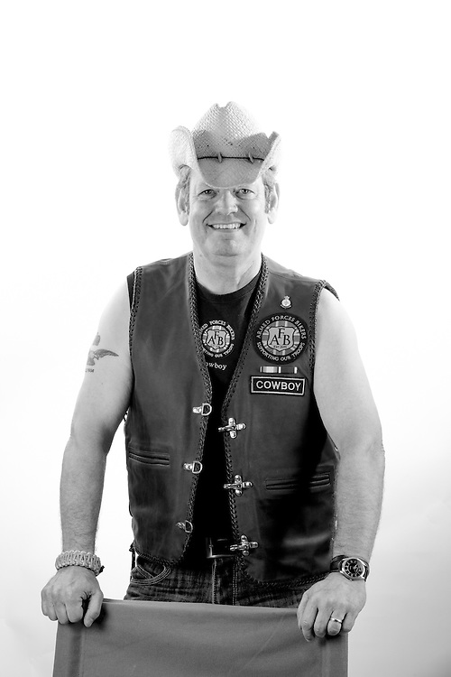 """Steve Baines, - RAF, 1976-1997, Falkland Islands, Cyprus, W.Africa.  Steve is a member of the 'Armed Forces Bikers' and goes by the nickname 'Cowboy"""""""