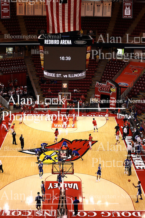 22 December 2015: A view of Doug Collins Court inside Redbird Arena from the North end complete with the new scoreboard.  Illinois State Redbirds host the Tennessee State Tigers at Redbird Arena in Normal Illinois (Photo by Alan Look)