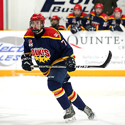 TRENTON, ON  - FEB 23,  2018: Ontario Junior Hockey League game between the Trenton Golden Hawks and the Wellington Dukes, Zack Uens #7 of the Wellington Dukes during the third period.<br /> (Photo by Ed McPherson / OJHL Images)