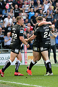 Hull FC centre Jack Logan (24) scores his second try and celebrates to make it 18-6 during the Betfred Super League match between Hull FC and Hull Kingston Rovers at Kingston Communications Stadium, Hull, United Kingdom on 19 April 2019.