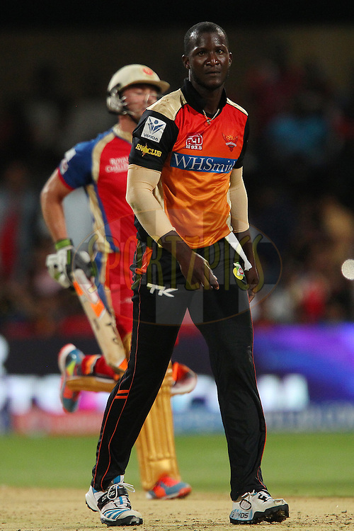 Darren Sammy of the Sunrisers Hyderabad reacts after a delivery during match 24 of the Pepsi Indian Premier League Season 2014 between the Royal Challengers Bangalore and the Sunrisers Hyderabad held at the M. Chinnaswamy Stadium, Bangalore, India on the 4th May  2014<br /> <br /> Photo by Ron Gaunt / IPL / SPORTZPICS<br /> <br /> <br /> <br /> Image use subject to terms and conditions which can be found here:  http://sportzpics.photoshelter.com/gallery/Pepsi-IPL-Image-terms-and-conditions/G00004VW1IVJ.gB0/C0000TScjhBM6ikg