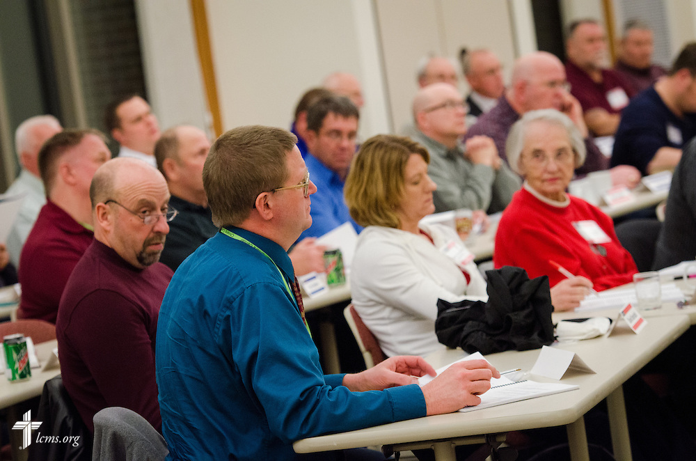The Rev. Timothy Mueller of Saint John Lutheran Church in New Minden, Ill., listens to a response for his question during a DOXOLOGY Encore discussion on Friday, Feb. 21, 2014, in Springfield, Ill. LCMS Communications/Erik M. Lunsford