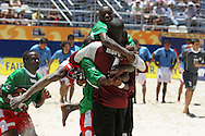 Footbal-FIFA Beach Soccer World Cup 2006 -CMR x URU -camaroneses players celebrates the vitory- Rio de Janeiro, Brazil - 01/11/2006.<br />Mandatory Credit: FIFA/Ricardo Ayres