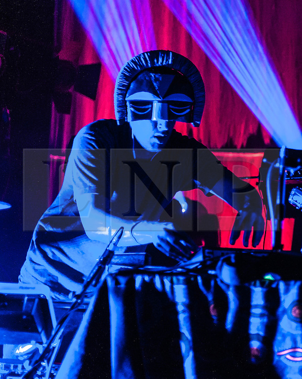 "© Licensed to London News Pictures. 04/10/2012. London, UK.   SBTRKT performs live at London's O2 Shepherds Bush Empire.  SBTRKT (pronounced as ""subtract"") is the stage name and project headed by Aaron Jerome, a musician and producer from London.  SBTRKT's music is a mixture of two-step, UK funky, dubstep, US RnB and Chicago house.  SBTRKT is an alias used to support the concept of anonymity, which he reinforces by wearing modern interpretations of native society ceremonial masks. Photo credit : Richard Isaac/LNP"