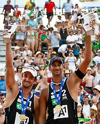 07.08.2011, Klagenfurt, Strandbad, AUT, Beachvolleyball World Tour Grand Slam 2011, im Bild Pedro Cunha, Recardo Santos Brazil, AUT , EXPA Pictures © 2011, EXPA Pictures © 2011, PhotoCredit: EXPA/ G. Steinthaler