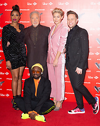 © Licensed to London News Pictures. 03/01/2019. London, UK. JENNIFER HUDSON, SIR TOM JONES WILL.I.AM, EMMA WILLIS and and OLLIE MURS attend The Voice UK 2019 ITV press launch. Photo credit: Ray Tang/LNP