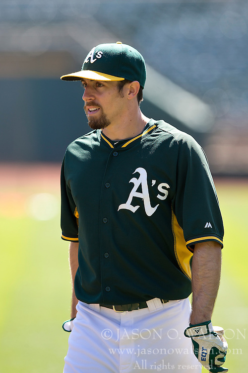 OAKLAND, CA - JUNE 21:  Billy Burns #1 of the Oakland Athletics looks on during batting practice before the game against the Los Angeles Angels of Anaheim at O.co Coliseum on June 21, 2015 in Oakland, California. The Oakland Athletics defeated the Los Angeles Angels of Anaheim 3-2. (Photo by Jason O. Watson/Getty Images) *** Local Caption *** Billy Burns