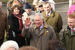 © Licensed to London News Pictures.04/02/2014. Muchelney, Somerset. Prince Charles visits the floods on the Somerset levels today to inspect flood damage and meet the people of Muchelney who have been cut off by recent flood waters . Photo credit : Jason Bryant/LNP