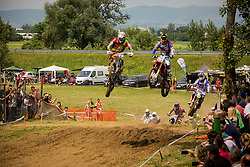 Irt Peter and Tim Gajser during MX Open and MX2 National Championship of Slovenia on 17 of May 2015 in Prilipe, Brezice, Slovenia. (Photo by Grega Valancic / Sportida.com)