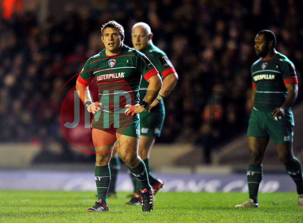 Tom Youngs of Leicester Tigers looks on during a break in play - Photo mandatory by-line: Patrick Khachfe/JMP - Mobile: 07966 386802 07/12/2014 - SPORT - RUGBY UNION - Leicester - Welford Road - Leicester Tigers v Toulon - European Rugby Champions Cup