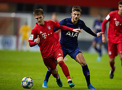 MUNICH, GERMANY - Wednesday, December 11, 2019: Bayern Munich's 's Benjamin Hofmann (L) and Tottenham Hotspur's substitute Maurizio Pochettino during the final UEFA Youth League Group B match between FC Bayern München and Tottenham Hotspur at the FC Bayern Campus. (Pic by David Rawcliffe/Propaganda)
