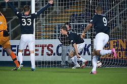 Falkirk's Stephen Kingsley cele scoring their third goal past Raith Rovers keeper Ross Laidlaw.<br /> Falkirk 3 v 1 Raith Rovers, Scottish Championship game at The Falkirk Stadium.