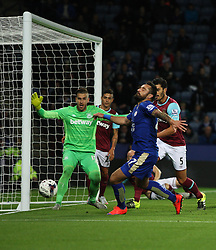 Marcin Wasilewski of Leicester City (R) misses a goal scoring opportunity  - Mandatory byline: Jack Phillips/JMP - 07966386802 - 22/09/2015 - SPORT - FOOTBALL - Leicester - King Power Stadium - Leicester City v West Ham United - Capital One Cup Round 3