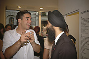 Chino Moya and Waris Ahluwalia, Party for House of Waris jewelry collection hosted by Daphne Guinness, Alice Bamford and Wes Anderson. Dover St. market. London. 8 June 2006. ONE TIME USE ONLY - DO NOT ARCHIVE  © Copyright Photograph by Dafydd Jones 66 Stockwell Park Rd. London SW9 0DA Tel 020 7733 0108 www.dafjones.com