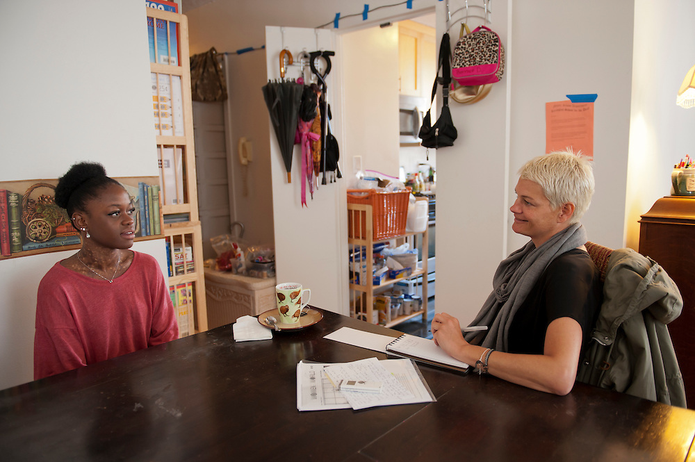"Michaela DePrince at her home in Manhattan. ..vlnr: Michaela DePrince und Autorin Ulrike Buelow...Michaela DePrince was born in war-torn Sierra Leone on January 6, 1995 where she was named Named Mabinty Bangura. Her adoptive parents were told that her father was shot by rebels when she was three years old, and that her mother starved to death soon after. Frequently malnourished, mistreated, and derided as a ""devil's child"" because of vitiligo, a skin condition causing depigmentation, she fled to a refugee camp after her orphanage was bombed. In 1999, at age four, she and another girl, Mia, were adopted by Elaine and Charles DePrince from New Jersey, and taken to the United States. (source: Wikipedia)..Photo © Stefan Falke.www.stefanfalke.com"