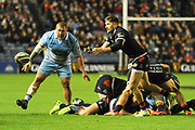 Henry Pyrgos passes out from the ruck during the 1872 Challenge Cup, Guinness Pro 14 2018_19 match between Edinburgh Rugby and Glasgow Warriors at BT Murrayfield Stadium, Edinburgh, Scotland on 22 December 2018.