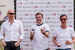 "© Licensed to London News Pictures. 05/06/2015.   London, UK. Members of the Universal Music team celebrate winning the Londonaise 'Celebrity Pétanque Trophy', as media and guests take part in ""Freddie for the Day"", by playing a special game of celebrity Pétanque, ahead of The Londonaise Pétanque festival this weekend in Barnard Park, Islington.  The festival will set a new precedent in the UK with 128 teams taking part in the main tournament.  The event also aims to raise funds for the Mercury Phoenix Trust to fight against AIDS worldwide.. Photo credit : Stephen Chung/LNP"