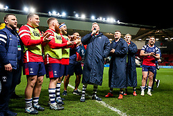 Joe Joyce leads the Bristol Bears and the crowd in a final rendition of the Blackbird Song at home this season, after the match ends 20-20 - Rogan/JMP - 03/05/2019 - RUGBY UNION - Ashton Gate Stadium - Bristol, England - Bristol Bears v Sale Sharks - Gallagher Premiership Rugby.