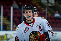 KELOWNA, BC - OCTOBER 20: Henri Jokiharju #16 of the Portland Winterhawks stands on the ice against the Kelowna Rockets  at Prospera Place on October 20, 2017 in Kelowna, Canada. (Photo by Marissa Baecker/Getty Images)