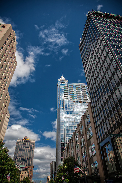 Stock Photography of buildings along Fayetteville Street in Raleigh, NC