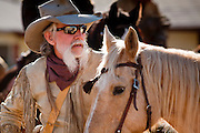 28 JANUARY 2012 - BUCKEYE, AZ:  A participant the JayCees Commancheros waits to ride in the Buckeye Days parade. The Buckeye Days parade went through downtown Buckeye, an agricultural community about 45 miles west of Phoenix. The parade was one the first events to mark Arizona's centennial celebration. Arizona was admitted to the United States on Feb 14, 1912, making it the 48th state in the union. The state celebrates its 100th birthday with a series of events on Feb. 14, 2012.       PHOTO BY JACK KURTZ
