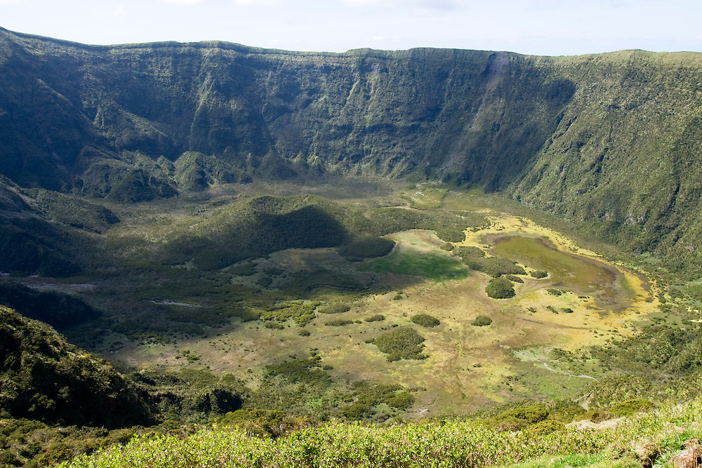 A view across the ancient crater on top of the island of Faial. The Azores are a group of islands under Portuguese sovereignty. They Mark the most westerly point of the E.U. and earn most of their income from agriculture and tourism.