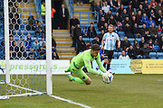 Shrewsbury Town goalkeeper Jayson Leutwiler during the Sky Bet League 1 match between Gillingham and Shrewsbury Town at the MEMS Priestfield Stadium, Gillingham, England on 23 April 2016. Photo by Martin Cole.