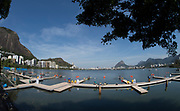 Rio de Janeiro. BRAZIL.   GENERAL VIEW OF THE START OFT THE M2X AT THE  2016 Olympic Rowing Regatta. Lagoa Stadium, Copacabana,  &ldquo;Olympic Summer Games&rdquo;<br />