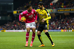 Joshua King of Bournemouth argus with Miguel Angel Britos of Watford over a tackle - Mandatory byline: Jason Brown/JMP - 27/02//2016 - FOOTBALL - Vicarage Road - Watford, England - Watford v Bournemouth - Barclays Premier League
