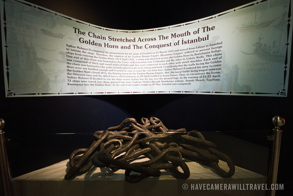 A segment of chains used across the mouth of the Golden Horn during the Conquest of Istanbul in the 15th century. The Istanbul Navy Museum dates back over a century but is now housed in a new purpose-built building on the banks of the Bosphorus. While ostensibly relating to Turkish naval history, the core of its collection consists of 14 imperial caiques, mostly from the 19th century, that are displayed on the main two floors of the museum.