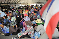 61029754<br /> Thai farmers gather during a rally at the compound of Thailand s Commerce Ministry in Nonthaburi province, on the outskirts of Bangkok, Thailand, Feb. 7, 2014. Thai rice farmers who have gathered in protest of a delay in payments for their latest crop under the government s rice-pledging program on Friday drew a deadline for the government to pay before Feb. 15. 2014, Date Taken Friday, 7th February 2014. Picture by  imago / i-Images<br /> UK ONLY